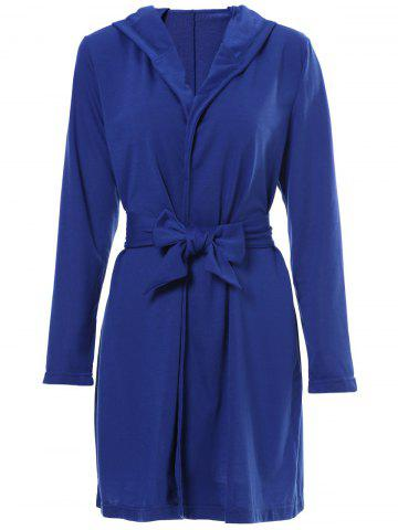 Sexy Hooded Solid Color Long Sleeve Slit Mini Dress For Women - Blue - Xl