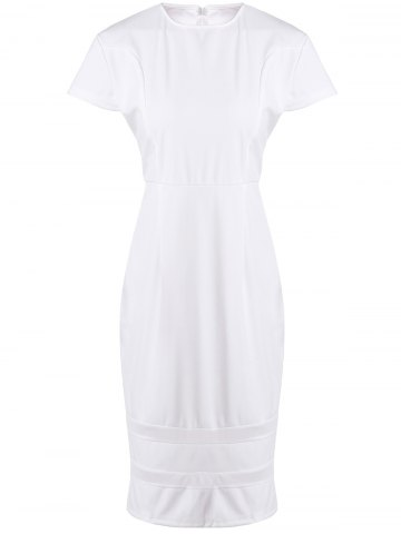 Stylish Round Neck Short Sleeve Mesh Spliced Plus Size Dress For Women - White - 3xl