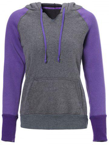 New Casual Style Hooded Long Sleeve Spliced Front Pocket Design Women's Pullover Hoodie PURPLE XL