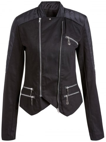 Affordable Stylish Stand-Up Collar Long Sleeve Asymmetrical Women's Motorcycle Jacket