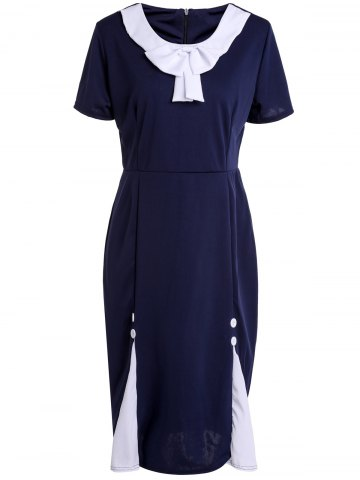 Outfit Vintage Scoop Neck Short Sleeve Bowknot Embellished Slimming Women's Dress