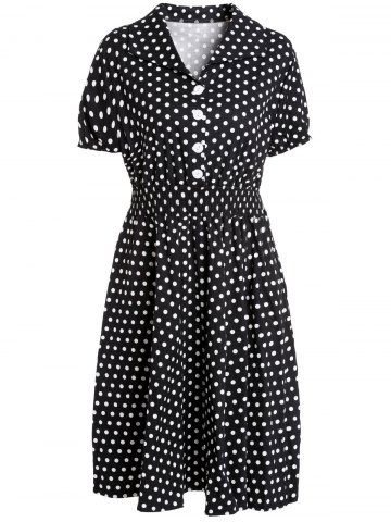 Shop Graceful Flat Collar Short Sleeve Polka Dot Plus Size Women's Dress