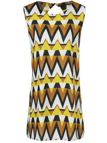 Affordable Retro Style Geometric Printed Side Slit Cut Out Chiffon Blouse For Women COLORMIX 4XL