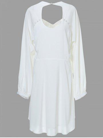 Mini Backless Long Sleeve Casual Swing Dress - Off-white - 4xl