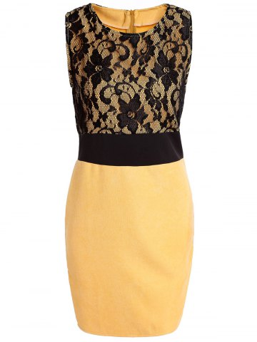 XL YELLOW Scoop Neck Sleeveless Lace Spliced Bodycon Dress