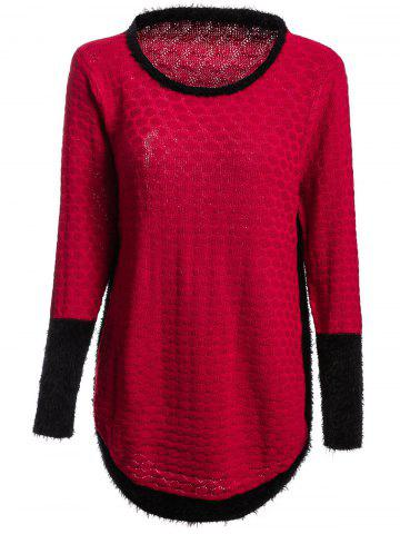 Sale Stylish Slimming Jewel Neck Color Splicing Long Sleeve Sweater For Women WINE RED ONE SIZE(FIT SIZE XS TO M)