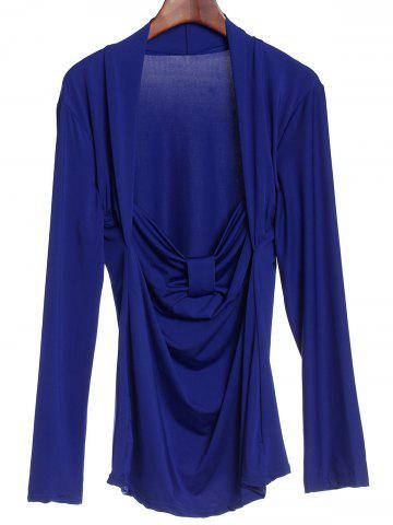 Small BLUE Sweetheart Neck Long Sleeve Ruched T Shirt For Women