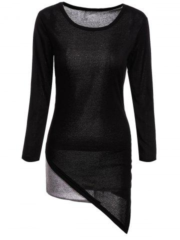 Fashion Stylish Scoop Neck Long Sleeves Color Splicing Irregular Hem Flocking Dress For Women BLACK M