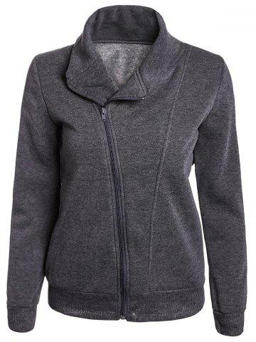 Shop Stylish Turn-Down Neck Long Sleeve Zippered Solid Color Women's Hoodie GRAY ONE SIZE(FIT SIZE XS TO M)