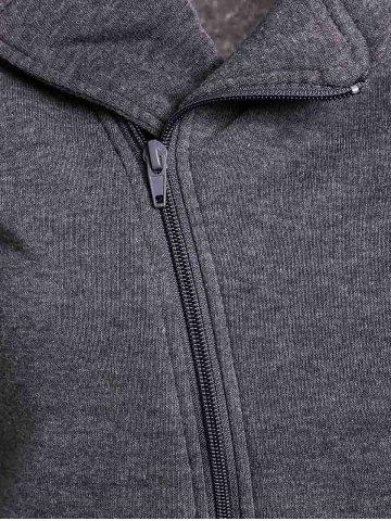 Chic Stylish Turn-Down Neck Long Sleeve Zippered Solid Color Women's Hoodie - ONE SIZE(FIT SIZE XS TO M) GRAY Mobile