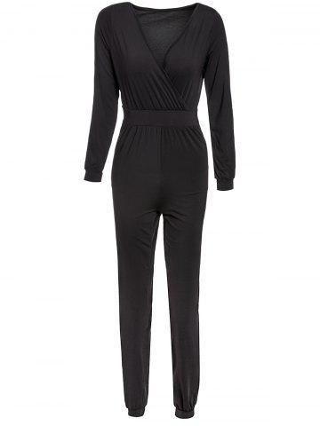 Online Sexy Plunging Neck Long Sleeve Solid Color Pocket Design Women's Jumpsuit BLACK M