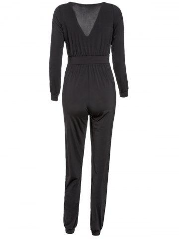 Store Pockets Plunging Neck High Waist Surplice Jumpsuit - M BLACK Mobile