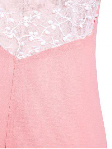 Best Plunging Neck Sleeveless Backless Formal Party  Dress - L PINK Mobile