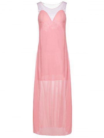Affordable Plunging Neck Sleeveless Backless Formal Party  Dress PINK L