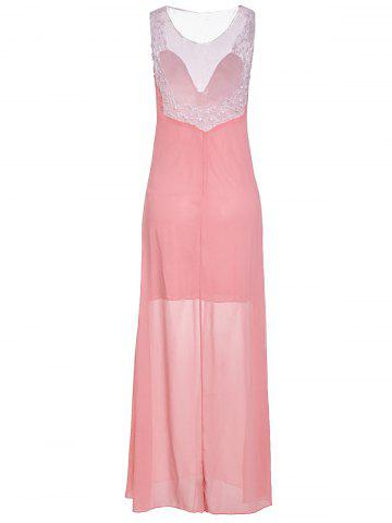 Best Plunging Neck Sleeveless Backless Formal Party  Dress - XL PINK Mobile