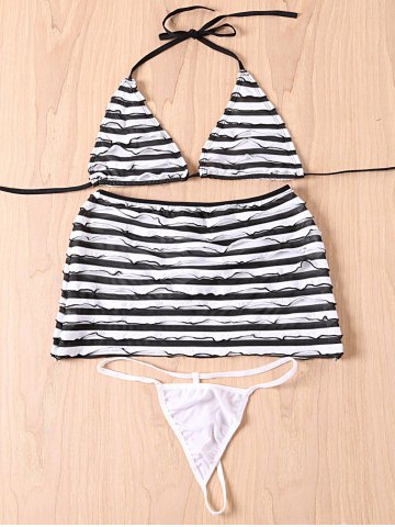 Unique Halter Striped Zebra Three-Piece Swimsuit