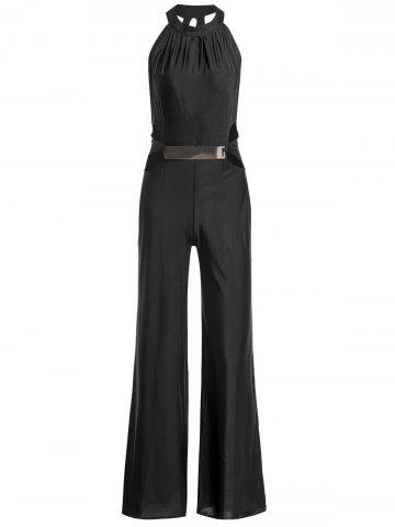 Discount Stylish Halter Sleeveless Hollow Out Solid Color Women's Jumpsuit