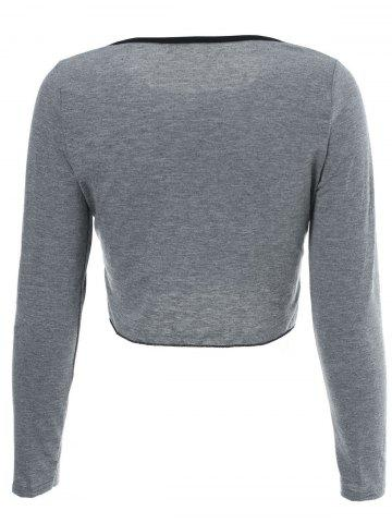 Store Sexy Scoop Neck Long Sleeve Single-Breasted Crop Top + Shorts Women's Twinset -   Mobile