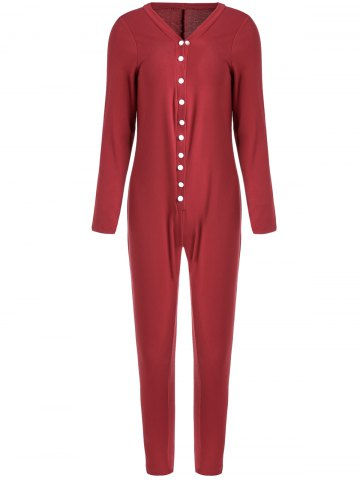Shop Buttoned Long Sleeve Ankle Skinny Jumpsuit WINE RED L