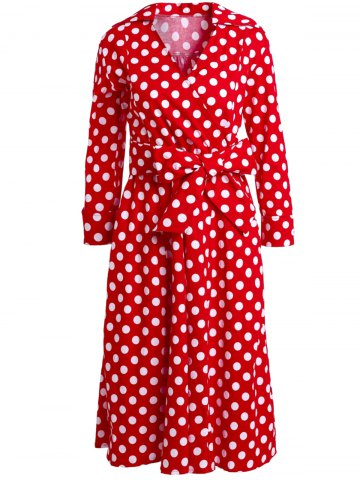 Unique Vintage 3/4 Sleeve Bowknot Belted Polka Dot Printed Ball Gown Dress For Women RED M