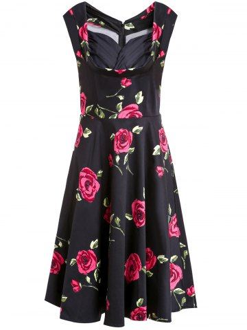 New Rose Printed Sleeveless Prom Ball Gown Dress