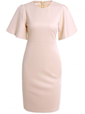 Outfit Graceful Round Collar Apricot Half Sleeve Dress For Women