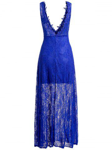 Online Sheer Lace Backless Maxi Evening Dress - S BLUE Mobile