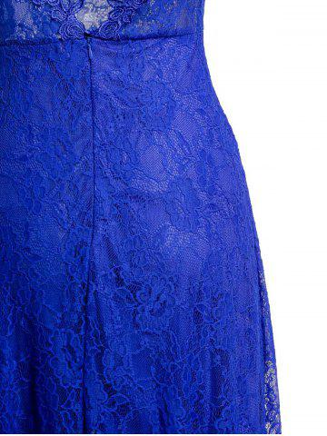 Shop Sheer Lace Backless Maxi Evening Dress - S BLUE Mobile