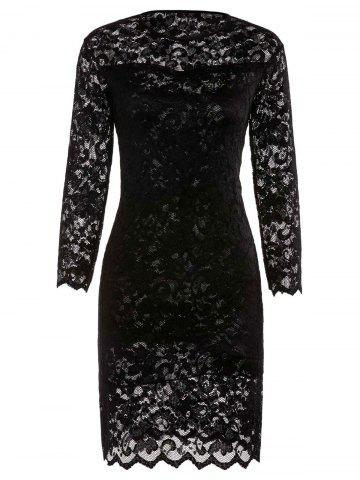 Lace Sheath Pencil Dress with Sleeves - Black - Xl
