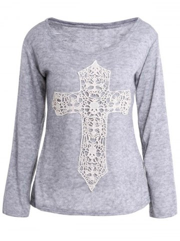 Fancy Casual Scoop Neck Laced Crucifix Pattern Long Sleeve T-Shirt For Women GRAY M
