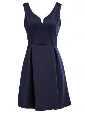 XL NAVY BLUE Sleeveless Solid Color V Neck A Line Dress