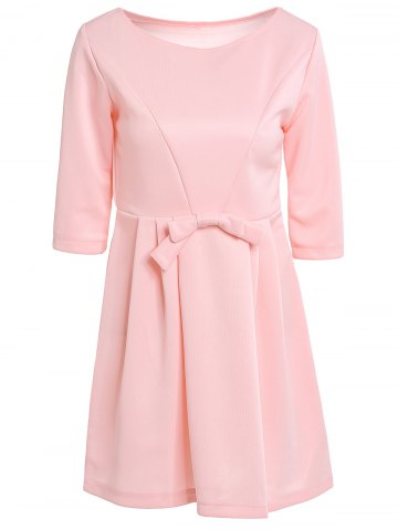Small PINK Jewel Neck 3 4 Sleeve Solid Color Bowknot Decorated Dress