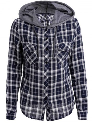 Casual Hooded Plaid Printed Long Sleeve Buttoned Hoodie For Women