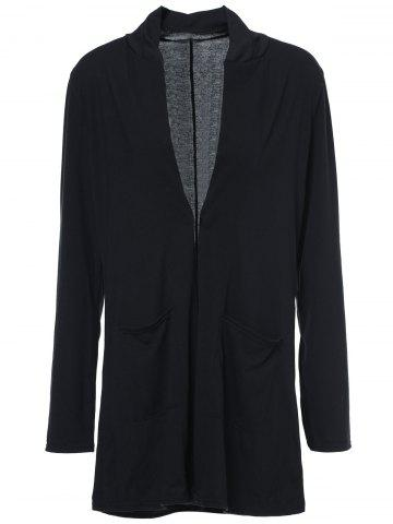 Buy Casual Solid Color Collarless Long Sleeve Thin Cardigan For Women