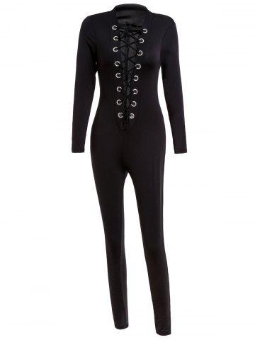Sexy Round Neck Long Sleeve Hollow Out Slimming Women's Jumpsuit - Black - L