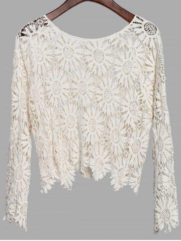 Shops Fresh Style Solid Color Scoop Neck Long Sleeve Hollow Out Crochet T-Shirt For Women