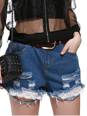 Sale Plus Size Lace Hem Ripped Denim Shorts
