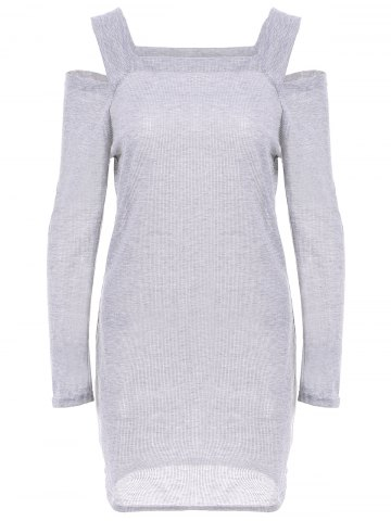 Discount Stylish Square Neck Shoulder Hollow Out Solid Color Long Sleeve Slimming Ribbed Cotton Women's Dress