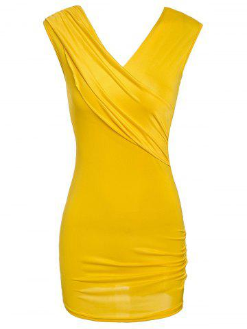 ONE SIZE(FIT SIZE XS TO M) YELLOW V Neck Sleeveless Slimming Pure Color Mini Dress