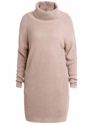 Unique Stylish Turtleneck Long Sleeve Pure Color Loose-Fitting Women's Long Sweater LIGHT APRICOT XL