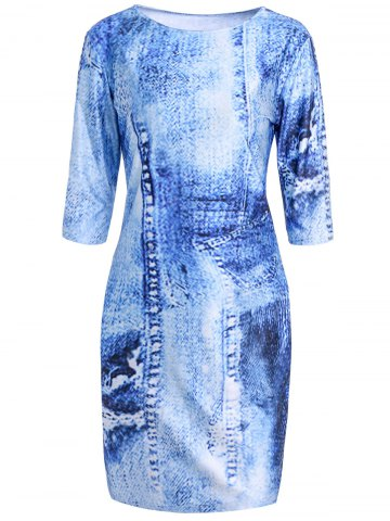 Faux Denim Printed Round Collar 3 4 Sleeve Bodycon Dress