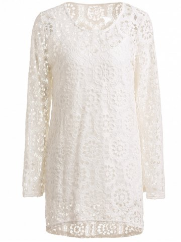 Long Sleeve Crochet Lace Dress with Tank Top - White - L