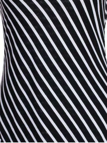 New Striped Maxi Dress With Short Sleeve - M BLACK Mobile
