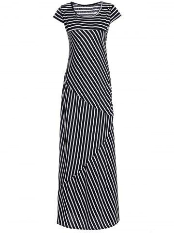 Shops Striped Maxi Dress With Short Sleeve