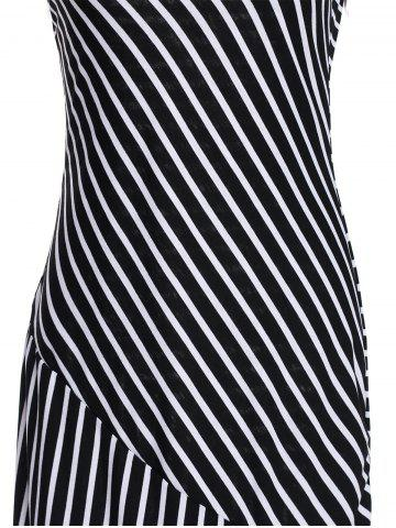 Trendy Striped Maxi Dress With Short Sleeve - M BLACK Mobile