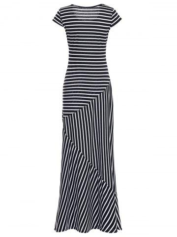 New Striped Maxi Dress With Short Sleeve - L BLACK Mobile