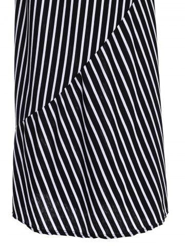 Hot Striped Maxi Dress With Short Sleeve - L BLACK Mobile