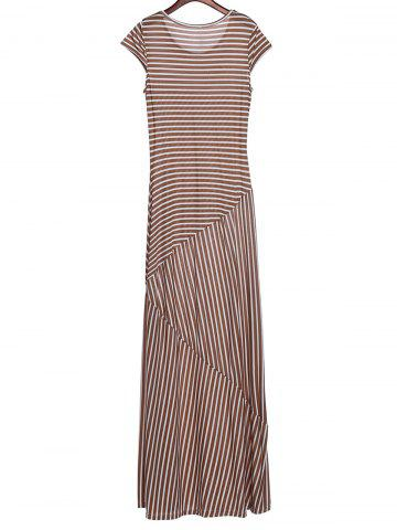 Store Striped Maxi Dress With Short Sleeve - L KHAKI Mobile