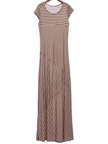 New Striped Maxi Dress With Short Sleeve - L KHAKI Mobile