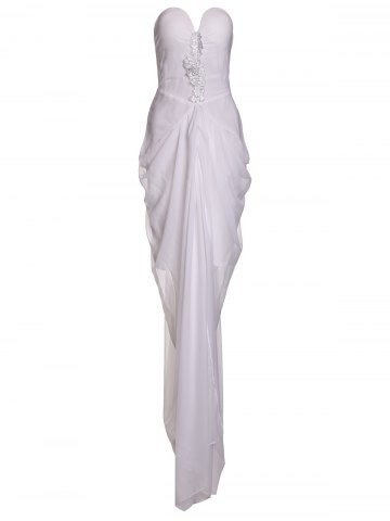 Hot Noble White Strapless Irregular Pleated High Slit Chiffon Maxi Dress For Women
